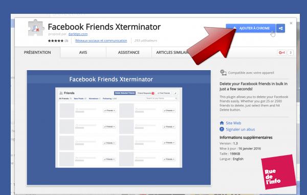 ajout chrome facebook friends exterminator