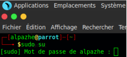 Terminal root Parrot Rue de l'info