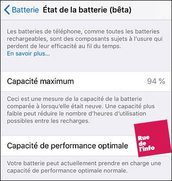 état de la batterie iphone - rue de l'info