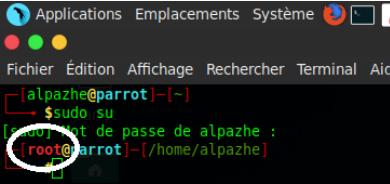 Terminal mode root Parrot Rue de l'info