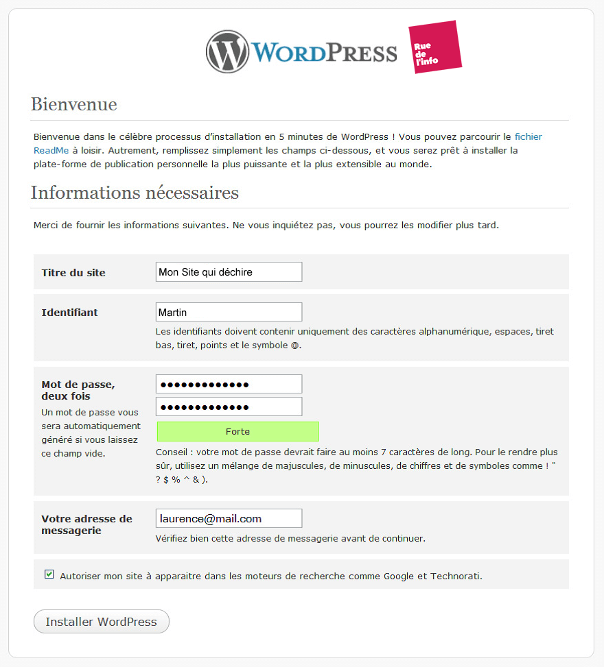 Installtion wordpress sur serveur - Rue de l'info