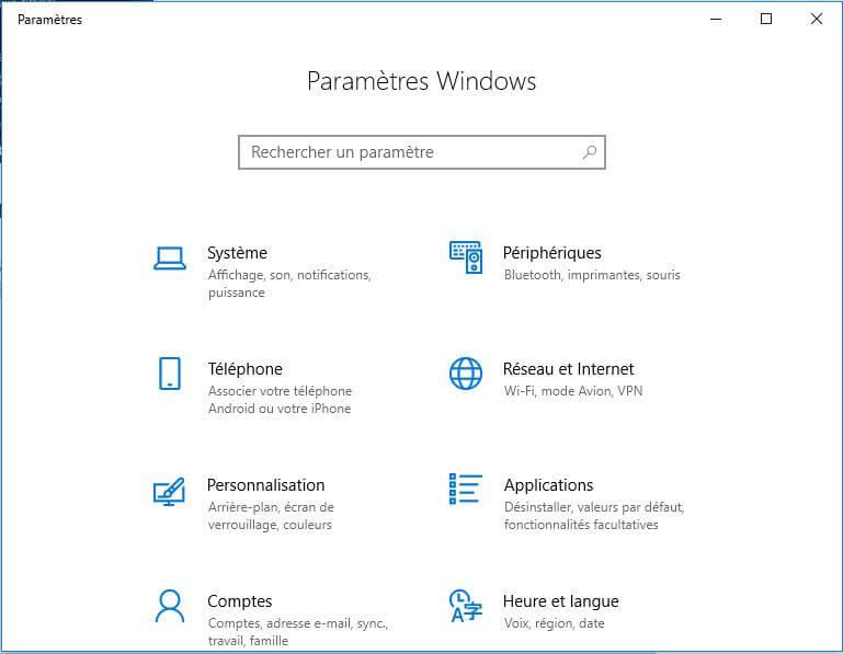 paramètres windows 10 - Rue de l'info