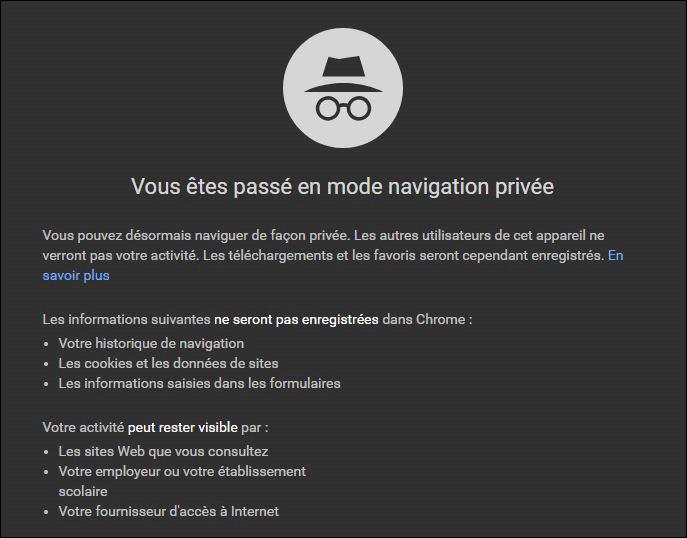 Naviguer en privée sur Chrome - Rue de l'info