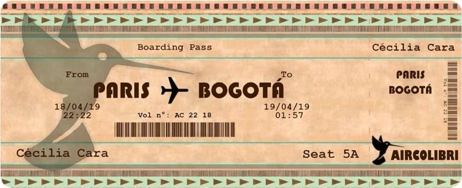 Billet d'avion Paris-Bogota de Cécilia Cara